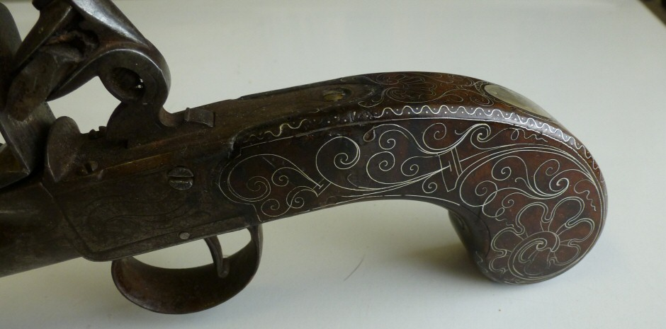 Restoration of an 18thC Inlaid Walnut Pistol Grip